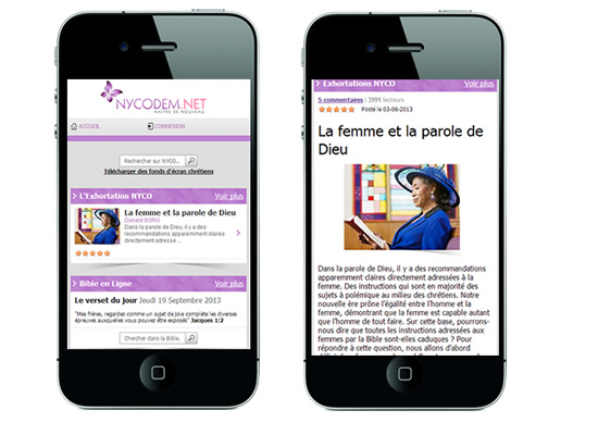 Nycodem.net en version mobile, smartphone, android